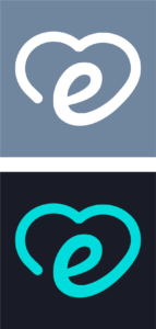 Two images together. Both images show the letter e with a heart around it. The top image is a grey background and the e is white. The bottom image is a black background and the e is green.