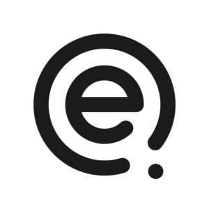 The letter e with an almost complete circle around it and a dot just outside the incomplete circle.